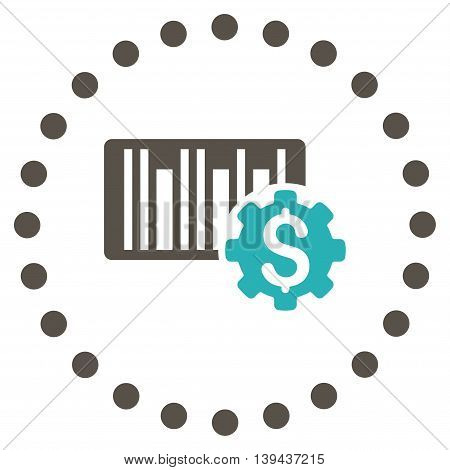 Barcode Price Setup vector icon. Style is bicolor flat circled symbol, grey and cyan colors, rounded angles, white background.