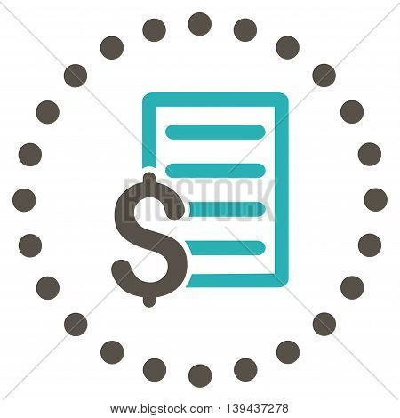 Contract vector icon. Style is bicolor flat circled symbol, grey and cyan colors, rounded angles, white background.