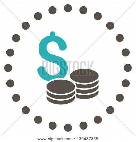 Dollar Cash vector icon. Style is bicolor flat circled symbol, grey and cyan colors, rounded angles, white background.