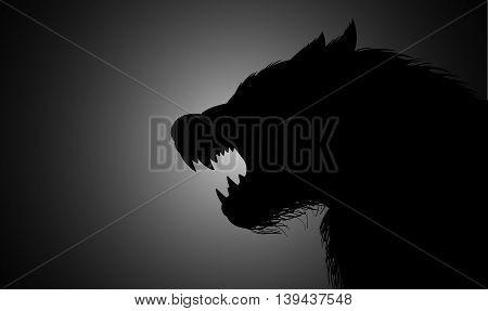 Silhouette illustration of a werewolf lurking in the dark