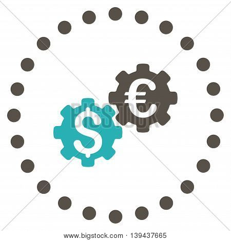 Financial Mechanics vector icon. Style is bicolor flat circled symbol, grey and cyan colors, rounded angles, white background.