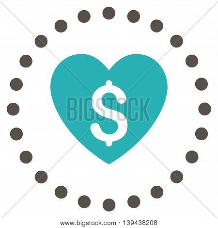 Paid Love vector icon. Style is bicolor flat circled symbol, grey and cyan colors, rounded angles, white background.