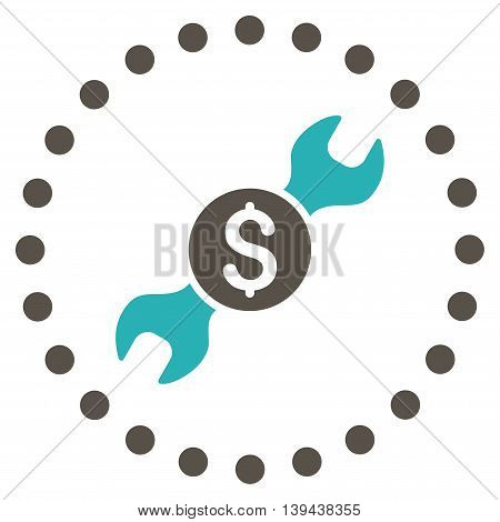 Repair Price vector icon. Style is bicolor flat circled symbol, grey and cyan colors, rounded angles, white background.