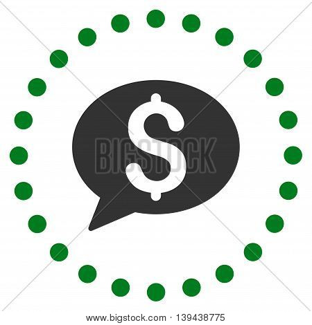 Bank Message vector icon. Style is bicolor flat circled symbol, green and gray colors, rounded angles, white background.