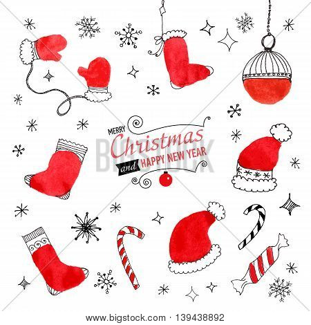 Set of hand drawn Christmas doodles for your design. Vector illustration
