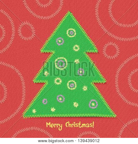 Christmas tree in patchwork style. Vector illustration