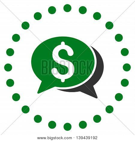 Financial Chat vector icon. Style is bicolor flat circled symbol, green and gray colors, rounded angles, white background.