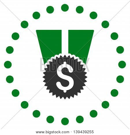 Financial Medal vector icon. Style is bicolor flat circled symbol, green and gray colors, rounded angles, white background.
