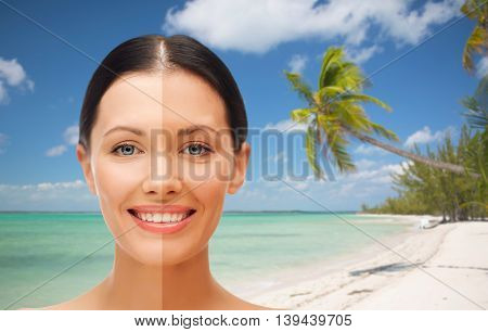 people, suntan, travel and summer holidays concept - close up of beautiful smiling woman with half face tanned over exotic tropical beach with palm trees background