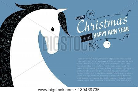Merry Christmas and Happy new year card for 2014 year of Horse