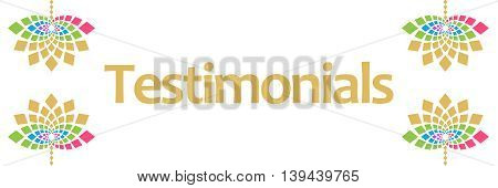Testimonials text written over abstract colorful background.