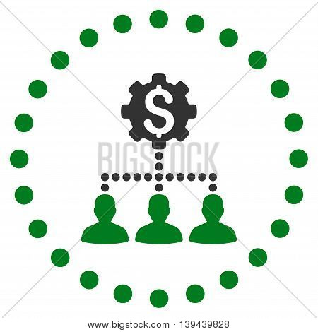 Industrial Bank Clients vector icon. Style is bicolor flat circled symbol, green and gray colors, rounded angles, white background.