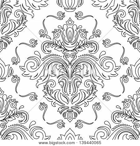 Elegant vector classic pattern. Seamless abstract background with repeating elements. Black and white pattern