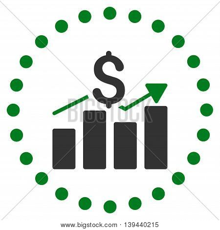 Sales Bar Chart vector icon. Style is bicolor flat circled symbol, green and gray colors, rounded angles, white background.