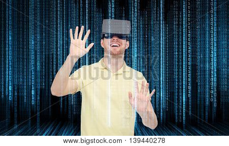 3d technology, virtual reality, programming, entertainment and people concept - happy man with virtual reality headset or 3d glasses playing game over blue binary code numbers and black background