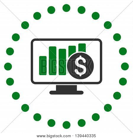 Stock Market Monitoring vector icon. Style is bicolor flat circled symbol, green and gray colors, rounded angles, white background.