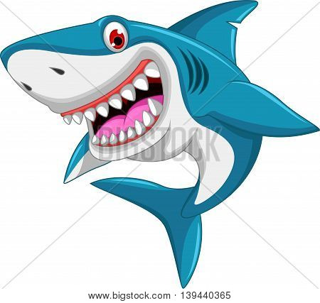 angry shark cartoon jumping for you design