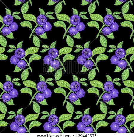 Vector seamless pattern. Branches with leaves and bilberry on a black background. Illustration for design packaging paper wallpaper fabrics textiles.