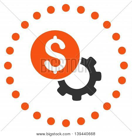 Development Cost vector icon. Style is bicolor flat circled symbol, orange and gray colors, rounded angles, white background.