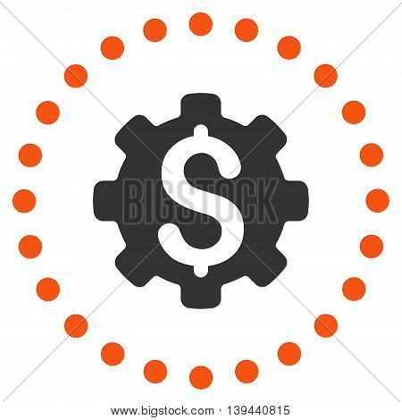 Dollar Options vector icon. Style is bicolor flat circled symbol, orange and gray colors, rounded angles, white background.
