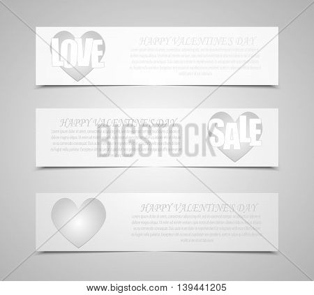 Vector abstract. Set of banners for Valentines Day with hearts background. Eps 10.