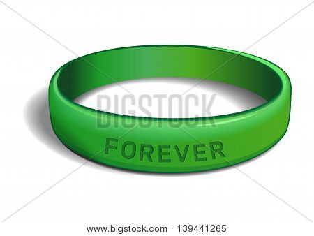 Green plastic wristband with the inscription - FOREVER. Friendship band isolated on white background. Realistic vector illustration for International Friendship Day