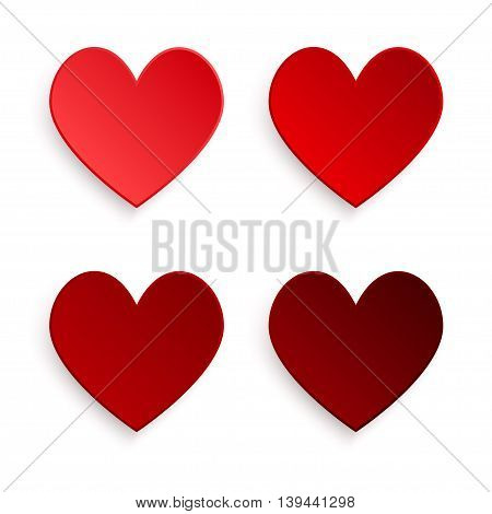 Red hearts with shadow on white background.
