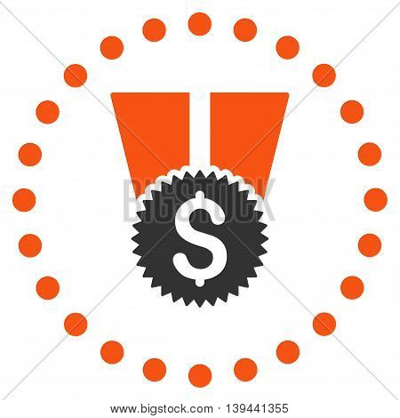 Financial Medal vector icon. Style is bicolor flat circled symbol, orange and gray colors, rounded angles, white background.
