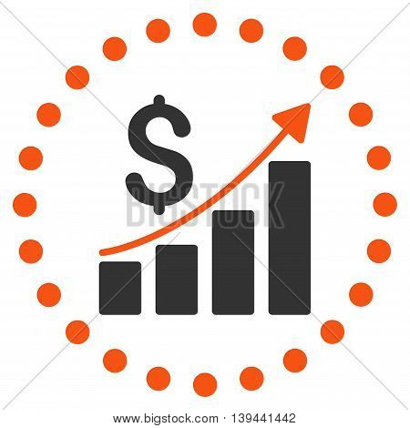 Financial Report vector icon. Style is bicolor flat circled symbol, orange and gray colors, rounded angles, white background.