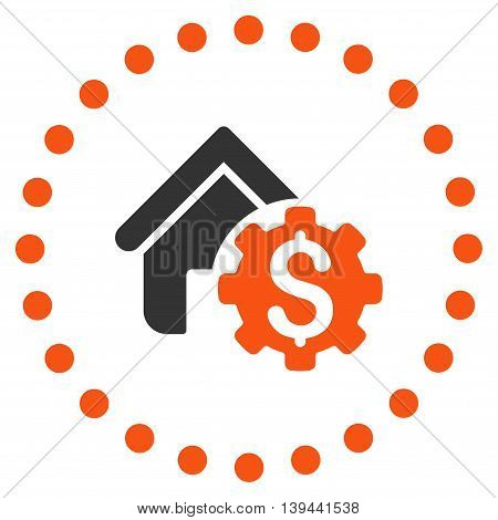 House Rent Options vector icon. Style is bicolor flat circled symbol, orange and gray colors, rounded angles, white background.