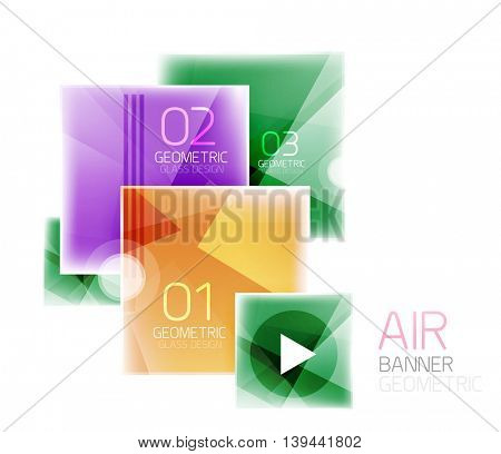 Glossy color squares. Information box