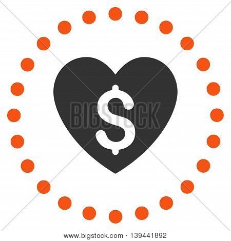 Paid Love vector icon. Style is bicolor flat circled symbol, orange and gray colors, rounded angles, white background.