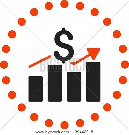 Sales Bar Chart vector icon. Style is bicolor flat circled symbol, orange and gray colors, rounded angles, white background.