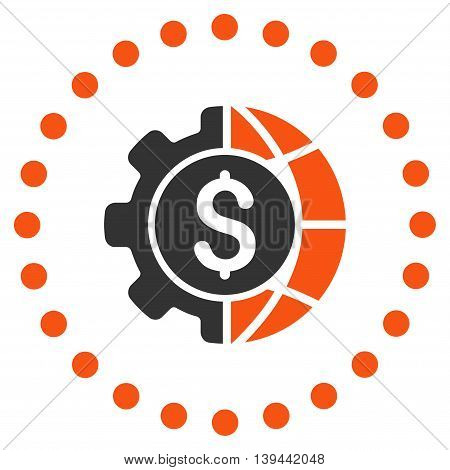 World Industry Finances vector icon. Style is bicolor flat circled symbol, orange and gray colors, rounded angles, white background.