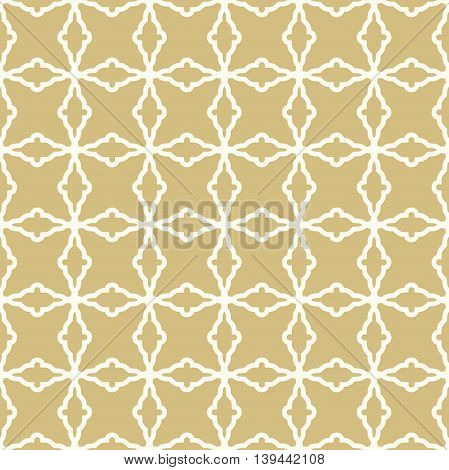 Seamless vector ornament in arabian style. Pattern for wallpapers and backgrounds. Golden and white pattern