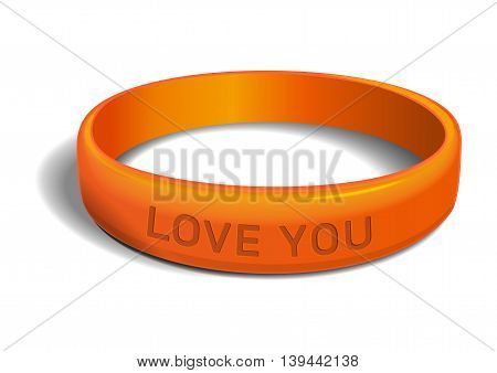 Orange plastic wristband with the inscription - LOVE YOU. Friendship band isolated on white background. Realistic vector illustration for International Friendship Day