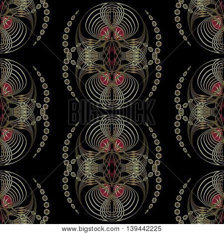 Seamless pattern art deco graphic ornament. Floral stylish modern background repeating texture with stylized waves