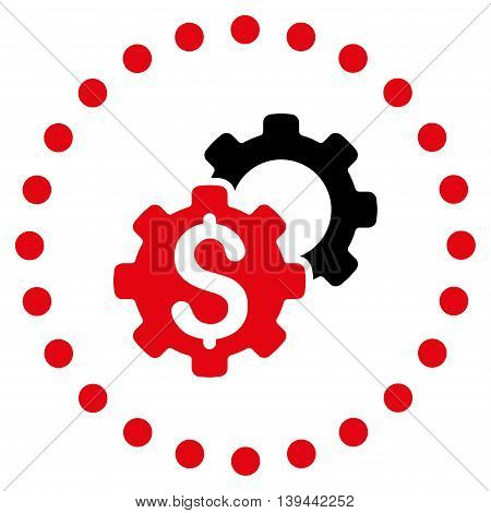 Bank Tools vector icon. Style is bicolor flat circled symbol, intensive red and black colors, rounded angles, white background.