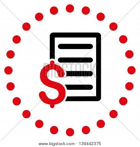 Contract vector icon. Style is bicolor flat circled symbol, intensive red and black colors, rounded angles, white background.