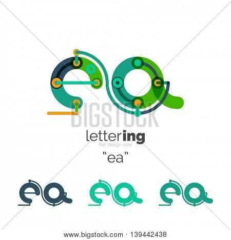 Alphabet letter font logo business icon. Company name concept. Flat thin line segments connected to each other.