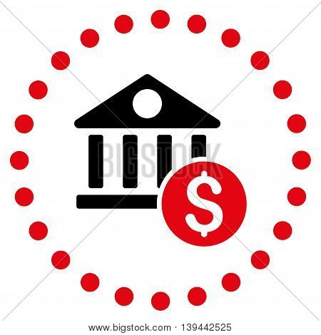 Dollar Bank vector icon. Style is bicolor flat circled symbol, intensive red and black colors, rounded angles, white background.