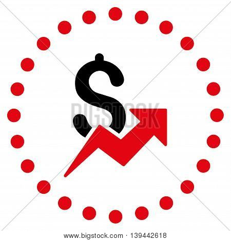 Dollar Growth vector icon. Style is bicolor flat circled symbol, intensive red and black colors, rounded angles, white background.