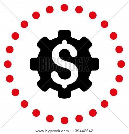 Dollar Options vector icon. Style is bicolor flat circled symbol, intensive red and black colors, rounded angles, white background.
