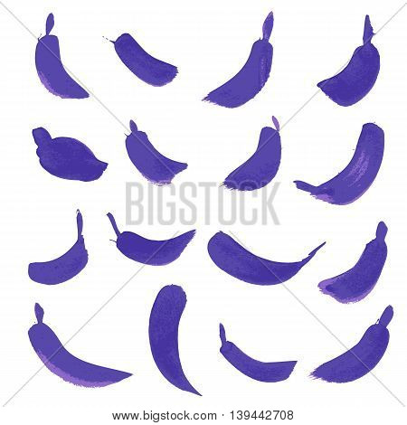 Set of hand drawn purple paint stains, every stain is correctly grouped. Vector illustration.