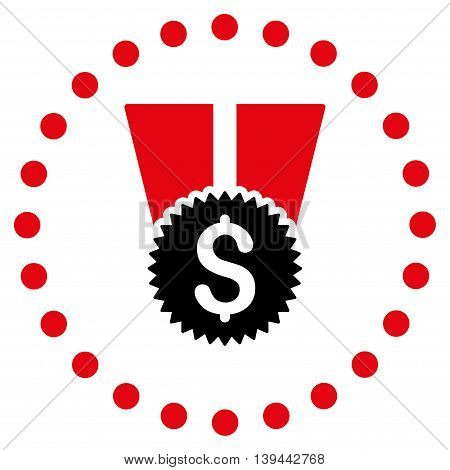 Financial Medal vector icon. Style is bicolor flat circled symbol, intensive red and black colors, rounded angles, white background.