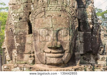 Bayon Castle Or Prasat Bayon Khmer Temple At Angkor In Siem Reap Cambodia