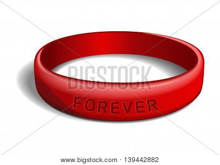 Red plastic wristband with the inscription - FOREVER. Friendship band isolated on white background. Realistic vector illustration for International Friendship Day