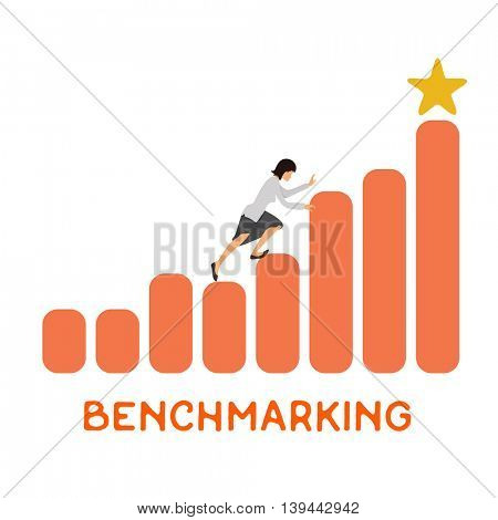 Businesswoman climbing up the rising financial chart. Business development and benchmarking concept illustration. Vector.