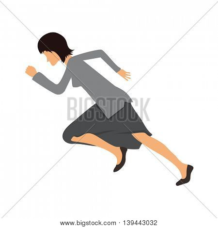 Woman in business clothes running sprint,