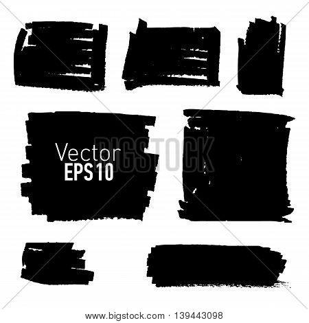Set of hand drawn paint stains, every stain is correctly grouped. Vector illustration.